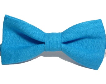 Aqua Blue Bow Tie Linen bow tie Blue ties for men Baby blue bow tie Boys bow tie Blue Bow Tie for wedding  Blue boy's bow tie men's bow tie.