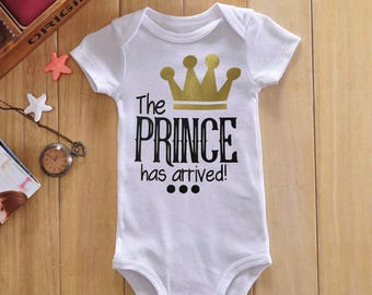 The prince has arrived onsie new baby boy baby prince baby shower gift