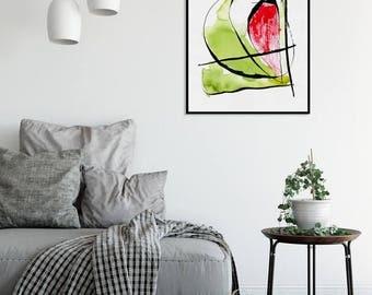 Abstract Watercolor Print Green Red Wall Art Forma 6 Srains Minimalist Art Painting Download Printable Poster Modern  Minimal Decor