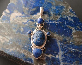 Lapis Lazuli and Sterling Silver Caméo Pendant