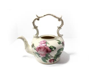 Beautiful Vintage Teapot  (No Lid), White with Roses and Gold Trim, Teapot Vase Succulent Planter