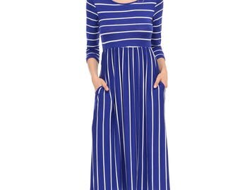 Fit and Flare Midi Dress with Pockets Royal Blue Striped