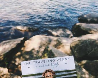 Adventure Awaits Wrap Bracelet, Adventure Bracelet, Travel Jewelry, Travel Gift, Penny Bracelet, Mountain Jewelry, Wanderlust Jewelry
