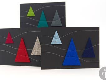 Quadu Christmas Card – Black – 3 trees