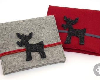 Quadu Navidu – Hard Drive bag – Navitasche – No. 4: Red with dark grey moose