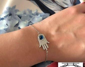 Sterling Silver Hamsa Evil Eye Bracelet / Silver Hamsa Bracelet / Hand of Fatima Bracelet / Hand of Miriam / Hamsa Evil Eye Bracelet / Hamsa