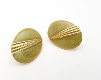 Vintage Oval Pierced Earrings Celeri Green Enamel on Gold Tone Metal Stud Geometric Modernist Mod Retro Classic Feminine Statement