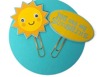 Birthday Party Favors / Kids Party / Planner Clips / You're My Sunshine / Yellow / Blue / Paper Clips / Book Marks / Gift / MarketandHigh