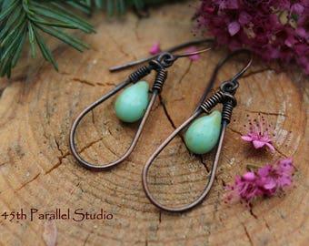 Turquoise Copper Earrings, Copper Hoop Earrings, Picasso Earrings, Boho Earrings, Rustic Earrings, Teardrop Earrings, Beaded Earrings, Hoops