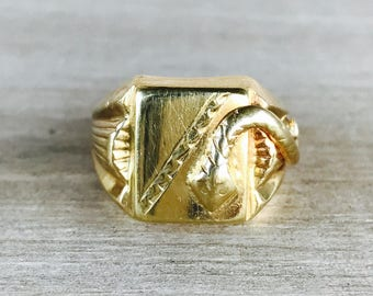 CLEARANCE 14k mens snake signet ring