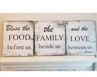 Bless The Food Before Us White Wood Signs Prayer Set 3 Farmhouse