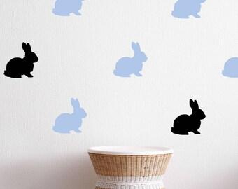 Rabbit Wall Decal - Kids Wall Sticker Nursery Decor - Wall Pattern Kids Playroom | PP130
