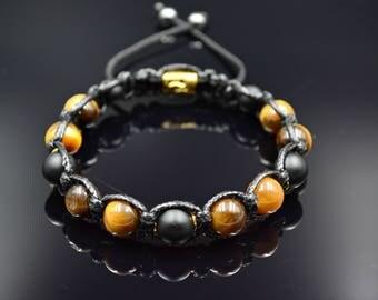 Men's Tiger's eye Bracelet Beaded Bracelet Shamballa Bracelet Macrame Bracelet Onyx Bracelet Gemstone Bracelet Gift for Men Herren Armband