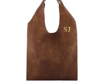 Monogrammed Vegan Leather PU Hobo Handbag. Personalized handbag with you own initials!