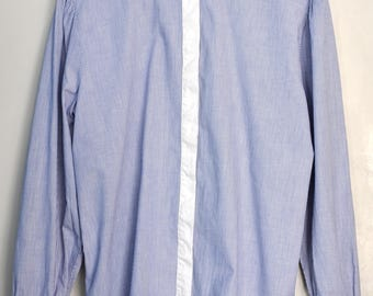 Vintage 80s / 90s striped shirt, blue and white button up shirt, preppy long sleeve shirt, stripes pattern blouse