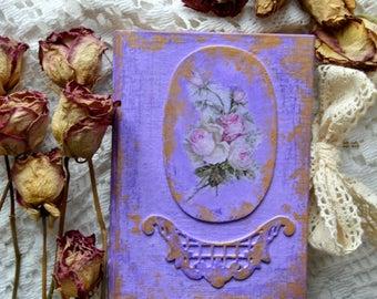 Vintage Shabby chic journal memory book keepsake blank journal .Made to order.Flat spine.