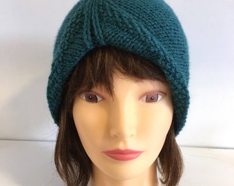 Vintage Style Turban Beanie Hat, Knitted Teal Skull Cap For Women, 1940s 1950s Retro Hand knit Accessory,