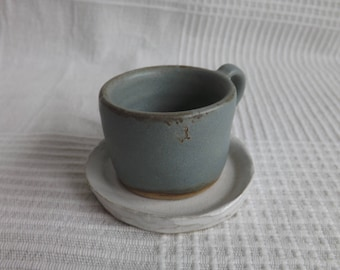 Light Blue Espresso Cup and White Heart Saucer