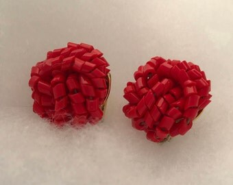 Vintage Clip On Earrings with Red Lucite Beads