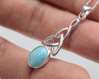Larimar - Celtic pendant and necklace 925 sterling silver