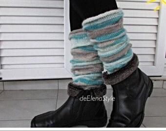 Wool leg warmers OOAK Angora kilting boot cuffs Fall winter yoga socks Autumn legwarmers Knitted boot toppers Wool leg warmers