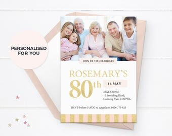80th birthday invites, 80th birthday invitations, 80th birthday party invitations, Photo invites, Photo invitations, 90th Birthday invites