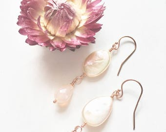Peach Pearl Earrings with Pink Chalcedony Rose Gold Filled Earrings, Feminine Earrings, Dainty Pearl Earrings, Pearl Earrings