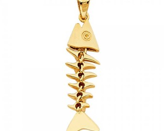 14K Solid Yellow Gold Fish Bone Pendant - Skeleton Necklace Charm