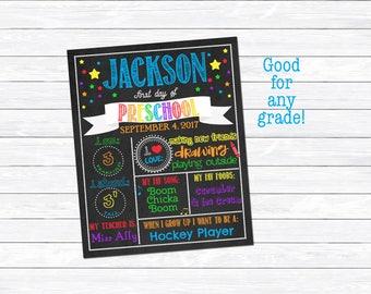 First Day of Preschool Sign, Boy's First Day of Preschool, School Milestone Chart, Printable, Digital Download, Chalkboard Print, Rainbow