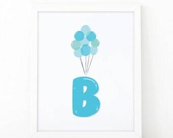 Initial B, B letter Balloons, babyBlue Balloons, initial Printable, Letter B Nursery, Nursery Initial Print, Blue Initial Balloons, Up print