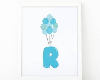 Initial r, R letter Balloons, baby Blue Balloons, initial Printable, Letter Nursery, Nursery Initial Print, Blue Initial Balloons, Up Disney