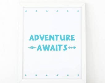 Adventure awaits, Nursery print, instant downoad, quote Printable, adventure print, kids room decor, scandinavian print, nursery wall art
