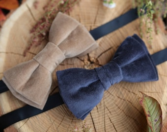 Clothing gift Husband gift Christmas Bow tie For Men Velvet Anniversary gift Mens Bowtie Wedding bow tie Groomsmen gifts Wedding outfit