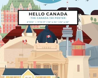 Hello Canada Poster | 13 Digital Illustrations to Celebrate Canada150