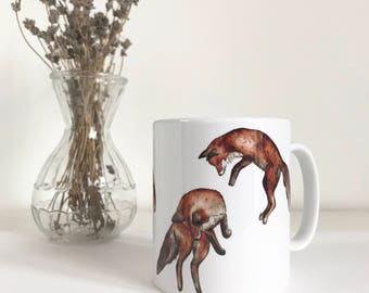 fox mug, jumping foxes mug, ceramic mug, country kitchen, fox coffee mug, fox christmas gift, kitchen mug, fox homeware, mug with foxes on