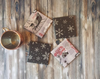 Christmas coasters, winter coasters, Christmas decor, winter decor, winter gifts, cabin decor, small gifts, gifts under 10