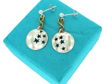 Infinite, Sterling Silver and Brass Earrings