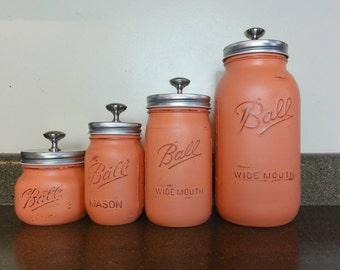 Mason Jar Canister Set, Painted Mason Jars, Rustic Home Decor, Rustic Kitchen Decor, Mason Jar Decor, Farmhouse Decor, Shabby Chic Decor