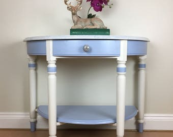Hand painted 'Hampshire' Ducal Demi Lune table finished in Annie Sloan Chalk Paint.