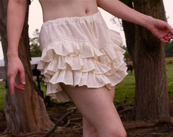 Coquette Bloomers - Extra Small, Small, or Medium (Choose Your Size) - 100% Cream Cotton Muslin - Ruffle - Adult / Women Handmade in Kansas