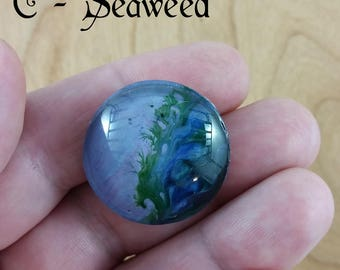 Round Brooch: fluid art pour on acetate, protected by glass; for men or women, unisex