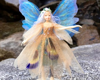 "Fae Folk® Fairies - JUPITER - Woodland Fairy. Bendable, posable 5"" soft doll can sit, stand, or hang."