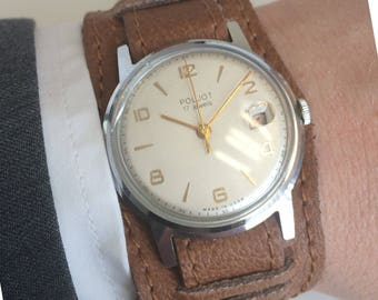 Poljot 2414, soviet watch, USSR. Crystal with magnifier