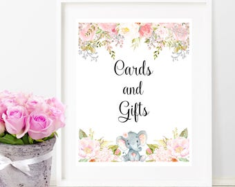 Baby Shower Party Decoration, Cards and Gifts Sign, Printable Sign, Watercolor Floral Cards and Gifts Sign, Pink and Gray, Digital Print