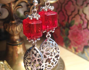 SILVER STATEMENT RED Earrings Flower Drop