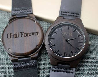 Wood Watches for Men Wooden Watch Natural Wood Leather Watches for Men Boyfriend Gift Engraved Watch Men Gifts for Dad Groom Gift Ideas