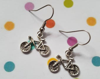 Bicycle earrings, Bike earrings, Dangle earrings, Pushbike, Bicycle, Bike, Gifts for cyclists, Bicycle jewellery, Bike rider, Cyclist gift