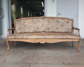 Vintage Grey Leather French Settee Loveseat with Nailhead Trim - Unique Large Couch Sofa - Ready for Customization!