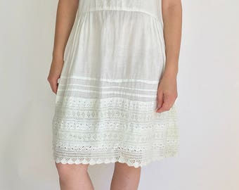Vintage White 20s Cotton Dress square neckline   Antique White Nightgown   Vintage White Cotton Slip   Vintage White Summer Dress