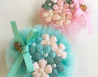 Flower Bouquet hair clip - baby hair clips, toddler hair clips, flower hair clips, baby accessories, girl hair clips